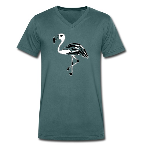 Flamingo schwarz-weiss - Männer Bio-T-Shirt mit V-Ausschnitt von Stanley & Stella