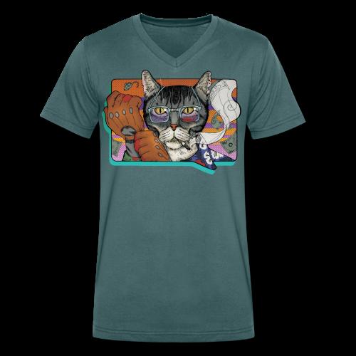 Crime Cat - Ekologiczna koszulka męska z dekoltem w serek Stanley & Stella
