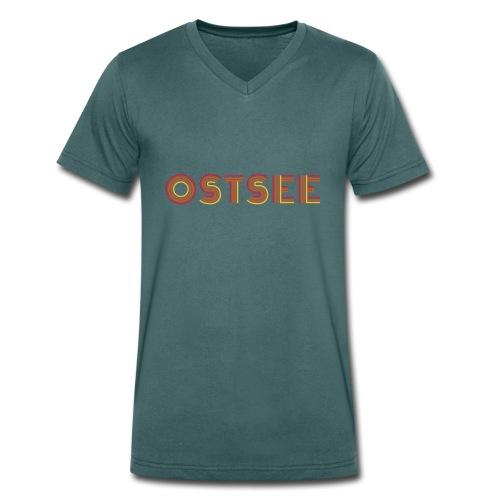 Ostsee Retro - Männer Bio-T-Shirt mit V-Ausschnitt von Stanley & Stella