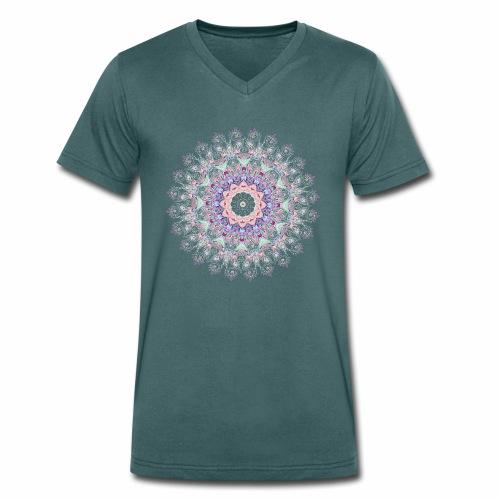 Hvid mandala - Økologisk Stanley & Stella T-shirt med V-udskæring til herrer
