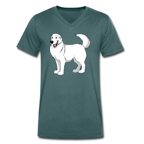 Gentle Giant Pyrenean Mountain Dog - Men's Organic V-Neck T-Shirt by Stanley & Stella