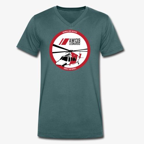 AW139 SAR Diseño Frontal - Camiseta ecológica hombre con cuello de pico de Stanley & Stella