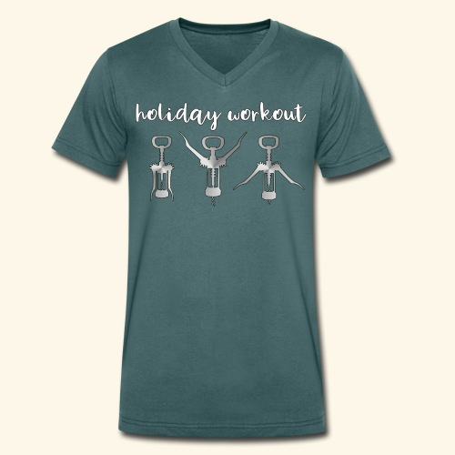 Holiday Workout with Corkscrews and Wine - Männer Bio-T-Shirt mit V-Ausschnitt von Stanley & Stella