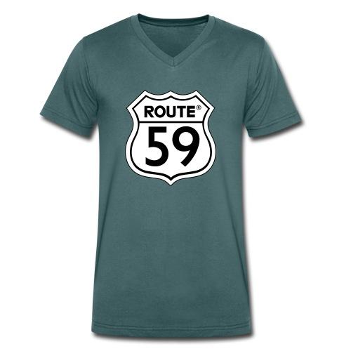 Route 59 zwart wit - Mannen bio T-shirt met V-hals van Stanley & Stella