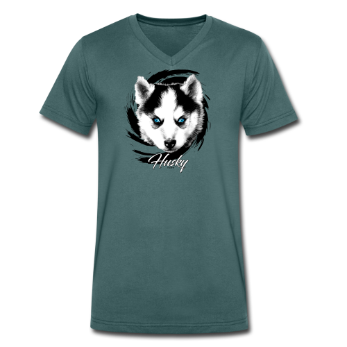 10-48 HUSKY BLUE EYES - DOG TEXTILES GIFTS WEBSHOP - Stanley & Stellan naisten luomupikeepaita