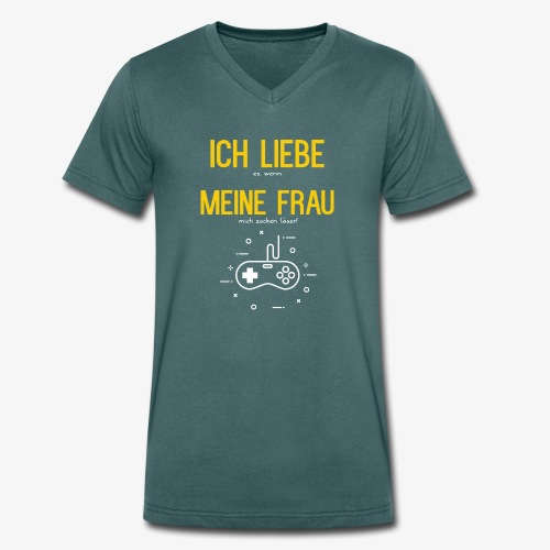 Gamer Zocker - Ich Liebe meine Frau - Männer Bio-T-Shirt mit V-Ausschnitt von Stanley & Stella