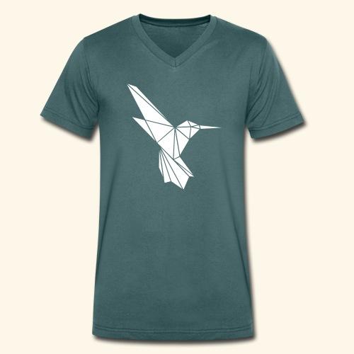 White Hummingbird weißer Kolibri aus Dreiecken - Männer Bio-T-Shirt mit V-Ausschnitt von Stanley & Stella