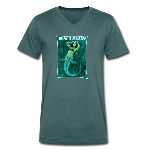Vintage Pin-up Beach Ready Mermaid - Men's Organic V-Neck T-Shirt by Stanley & Stella