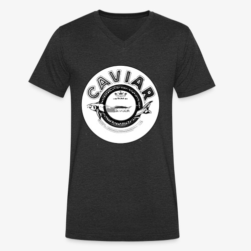 Caviar Black / White - Men's Organic V-Neck T-Shirt by Stanley & Stella