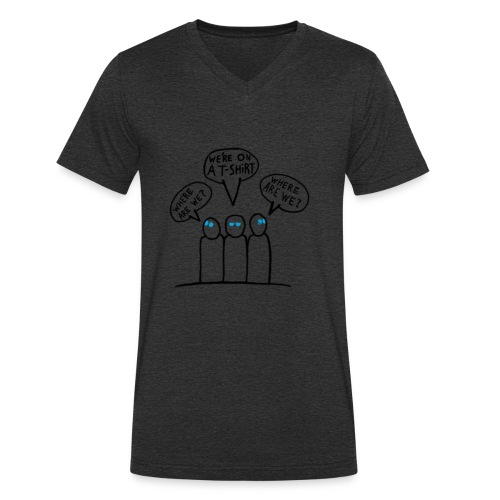 Transparent Blue Eyes Guys 'on a t-shirt' - Men's Organic V-Neck T-Shirt by Stanley & Stella