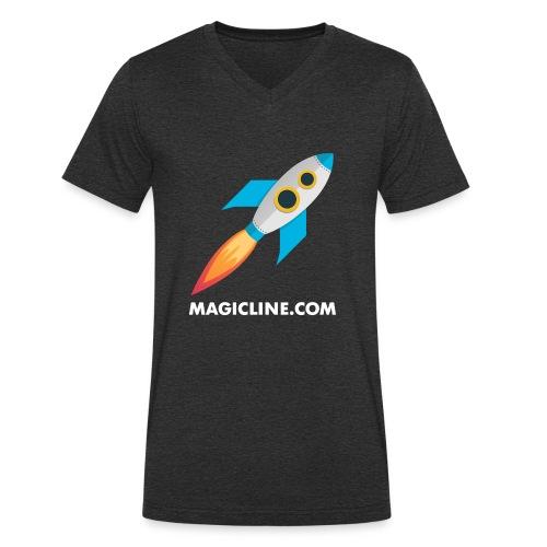 Rocket Magicline com Typo weiss DIN A3 - Männer Bio-T-Shirt mit V-Ausschnitt von Stanley & Stella