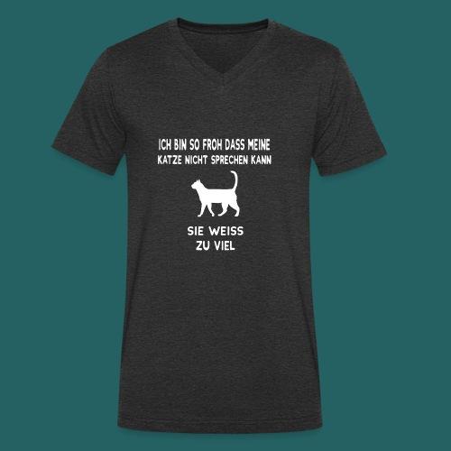 Meine Katze weiß zu viel - Limitierte Edition - Männer Bio-T-Shirt mit V-Ausschnitt von Stanley & Stella