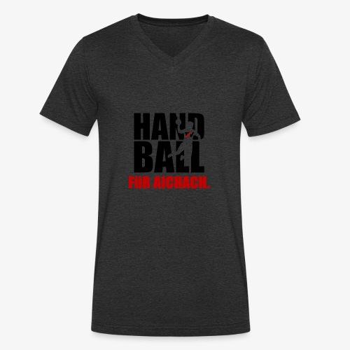 Handball für Aichach Schwarz - Männer Bio-T-Shirt mit V-Ausschnitt von Stanley & Stella