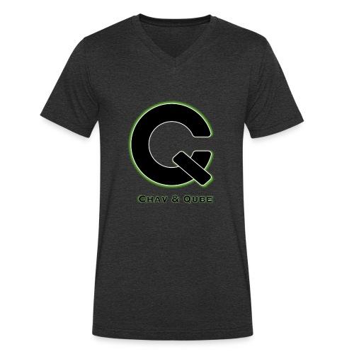 Chav & Qube Logo Zwart - Mannen bio T-shirt met V-hals van Stanley & Stella