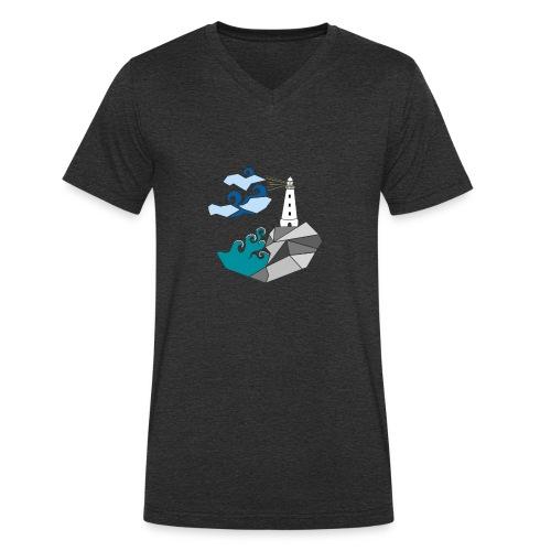 lighthouse - Økologisk T-skjorte med V-hals for menn fra Stanley & Stella