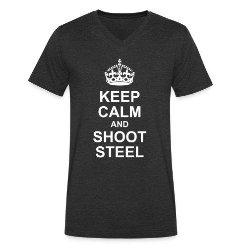 KEEP CALM and SHOOT STEEL - Männer Bio-T-Shirt mit V-Ausschnitt von Stanley & Stella