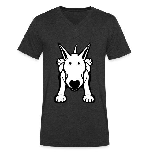 Bull Terrier Sprawl Design Tee - Men's Organic V-Neck T-Shirt by Stanley & Stella