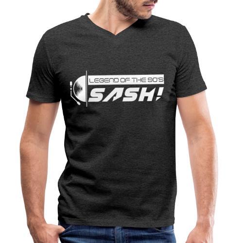 DJ SASH! Turntable Logo - Men's Organic V-Neck T-Shirt by Stanley & Stella