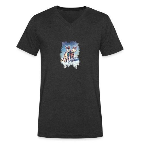 Huskies im Schnee - Männer Bio-T-Shirt mit V-Ausschnitt von Stanley & Stella