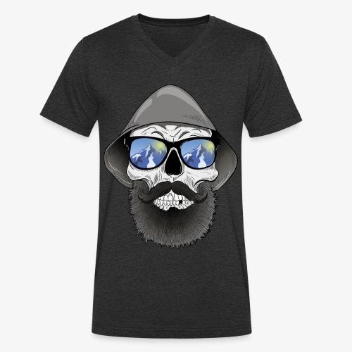 Totenkopf mit sonnenbrille und hut - Männer Bio-T-Shirt mit V-Ausschnitt von Stanley & Stella
