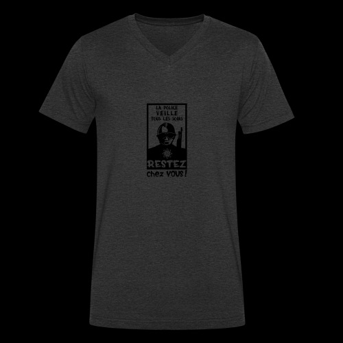 Couvre-feu - La Police Veille.. (Motif N°3) - T-shirt bio col V Stanley & Stella Homme