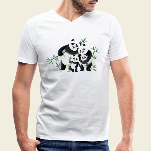 Pandafamilie zwei Kinder - Männer Bio-T-Shirt mit V-Ausschnitt von Stanley & Stella