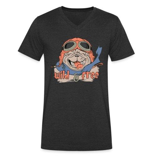 Wild & Free: Happy Pug Flier Freedom - Men's Organic V-Neck T-Shirt by Stanley & Stella