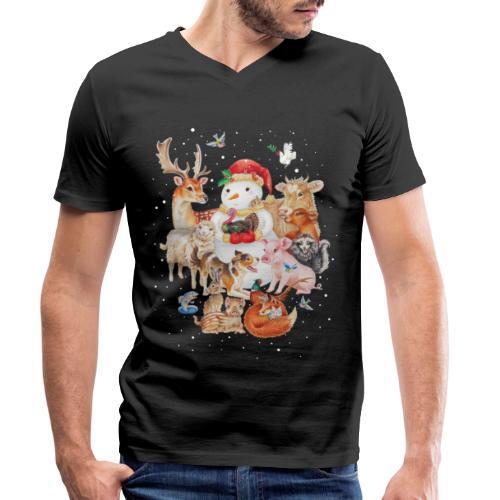 winter animals - Men's Organic V-Neck T-Shirt by Stanley & Stella