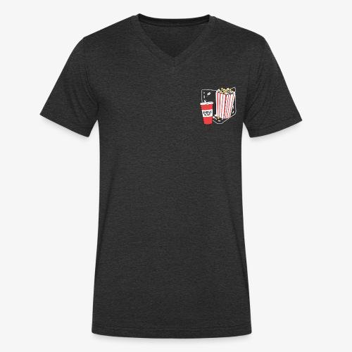 Popcorn teeth (dark backgroud) + pocket - Camiseta ecológica hombre con cuello de pico de Stanley & Stella