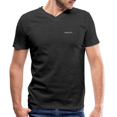 Logo - hvit - kun tekst - bryst - liten - Økologisk T-skjorte med V-hals for menn fra Stanley & Stella