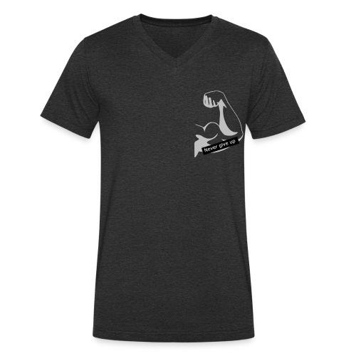 Never give up - Økologisk Stanley & Stella T-shirt med V-udskæring til herrer