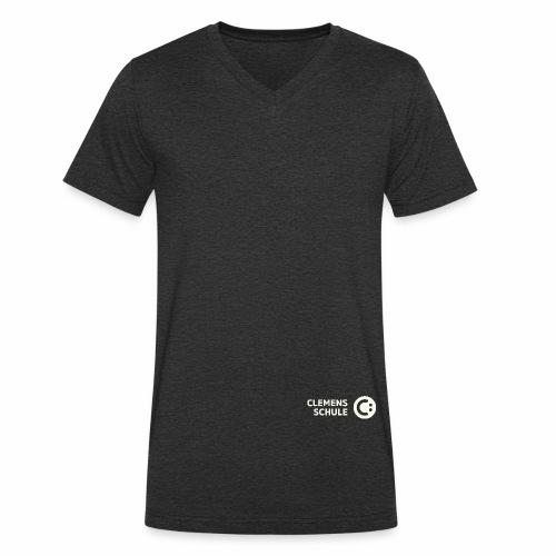 Männer Bio-T-Shirt mit V-Ausschnitt von Stanley & Stella - Schule,Clemens Schule,weiß,CLEMENS,Logo