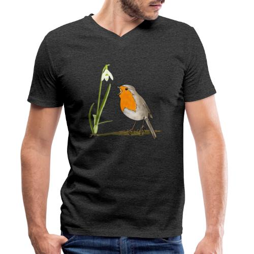 Frühling, Rotkehlchen, Schneeglöckchen - Männer Bio-T-Shirt mit V-Ausschnitt von Stanley & Stella