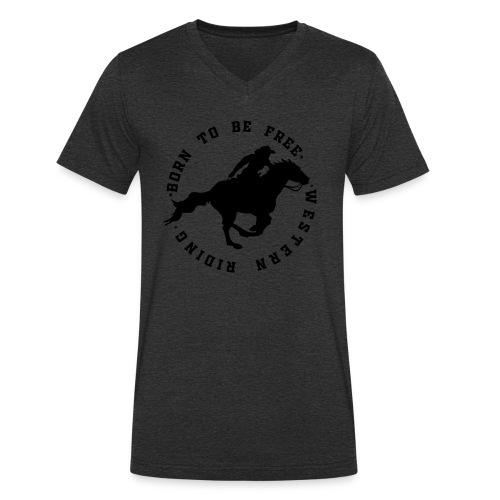 WESTERN HORSES - Ekologiczna koszulka męska z dekoltem w serek Stanley & Stella