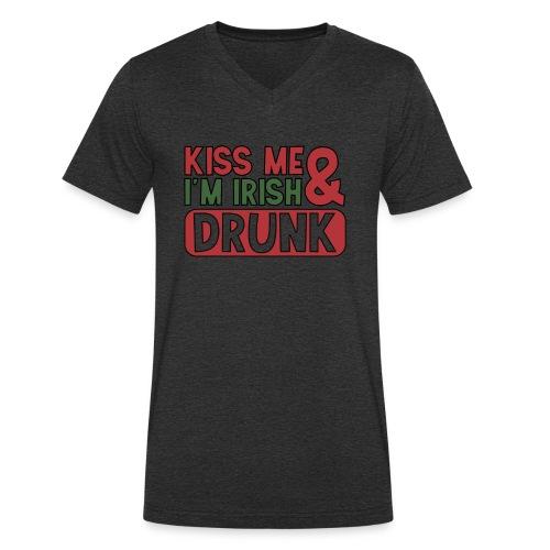 Kiss Me I'm Irish & Drunk - Party Irisch Bier - Männer Bio-T-Shirt mit V-Ausschnitt von Stanley & Stella