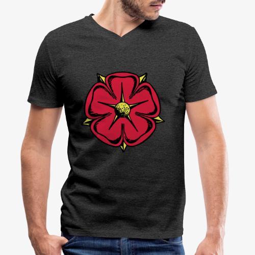 Lippische Rose - Männer Bio-T-Shirt mit V-Ausschnitt von Stanley & Stella