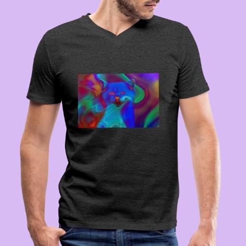 Gattino con effetti neon surreali - T-shirt ecologica da uomo con scollo a V di Stanley & Stella