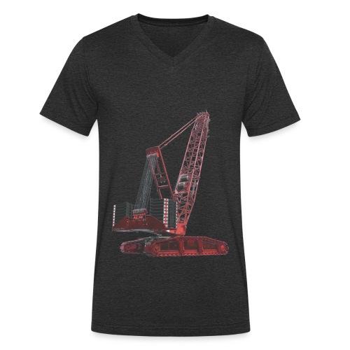 Crawler Crane 750t - Red - Men's Organic V-Neck T-Shirt by Stanley & Stella