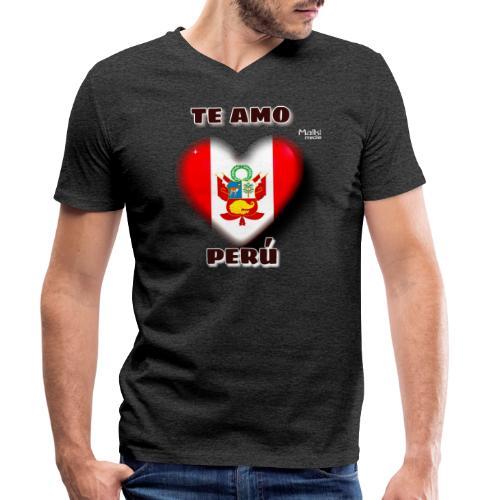 Te Amo Perú Corazón - Camiseta ecológica hombre con cuello de pico de Stanley & Stella