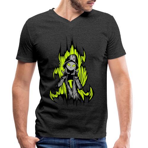 KRASS mit Flamme - Männer Bio-T-Shirt mit V-Ausschnitt von Stanley & Stella