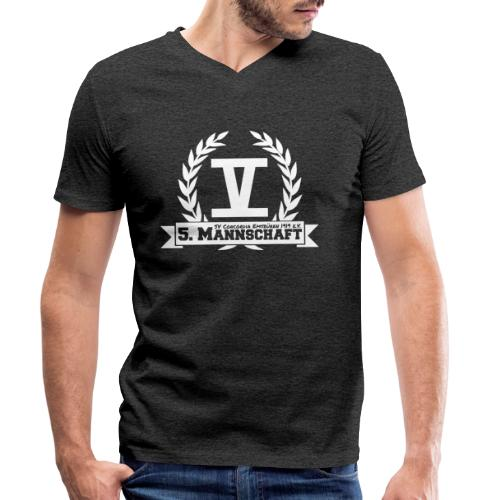 V mit College-Schriftzug - Weiß - Männer Bio-T-Shirt mit V-Ausschnitt von Stanley & Stella