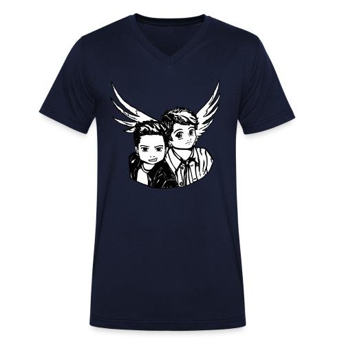 Destiel i sort/hvid - Økologisk Stanley & Stella T-shirt med V-udskæring til herrer