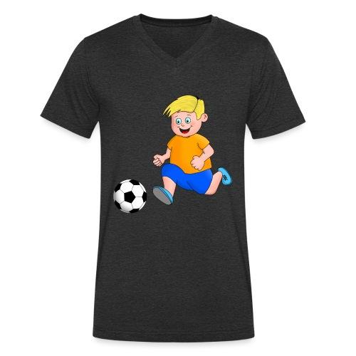 Junger Fußballer - Männer Bio-T-Shirt mit V-Ausschnitt von Stanley & Stella