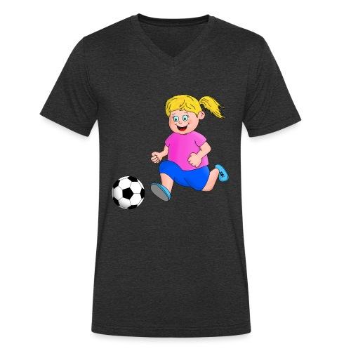 Fußball Mädchen - Männer Bio-T-Shirt mit V-Ausschnitt von Stanley & Stella