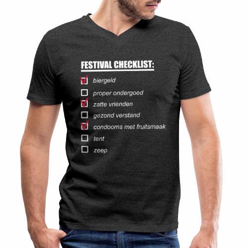 My Festival Checklist - Mannen bio T-shirt met V-hals van Stanley & Stella