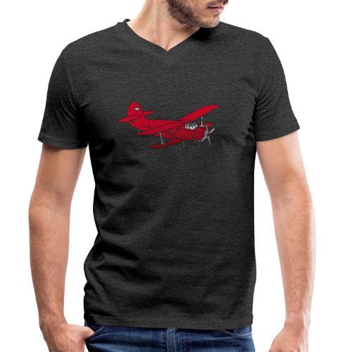 Doppeldecker Flieger rot - Männer Bio-T-Shirt mit V-Ausschnitt von Stanley & Stella