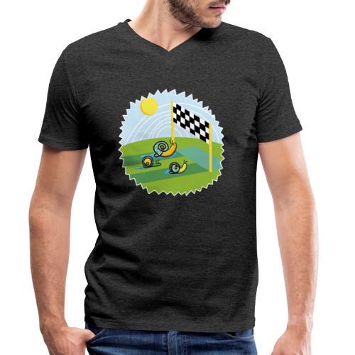 Zen Schnecken im Wettrennen auf sonniger Wiese - Männer Bio-T-Shirt mit V-Ausschnitt von Stanley & Stella