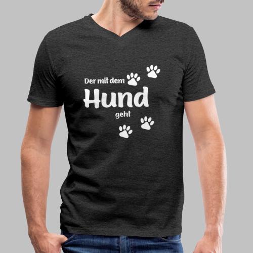 Der mit dem Hund geht - White Edition - Männer Bio-T-Shirt mit V-Ausschnitt von Stanley & Stella