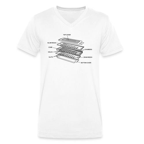 Exploded harmonica - black text - Men's Organic V-Neck T-Shirt by Stanley & Stella