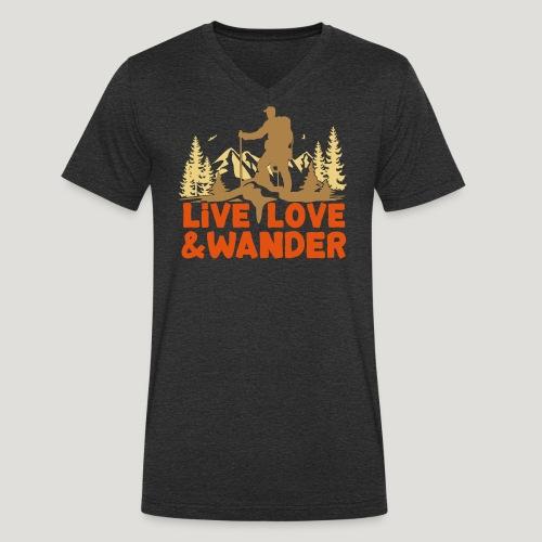 Live Love and Wander für Wanderer, Nordic Walker - Männer Bio-T-Shirt mit V-Ausschnitt von Stanley & Stella